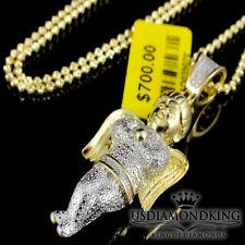 Angel Piece Charm Pendant Necklace Chain 0.50Ct Diamond Yellow Gold Finish Jesus