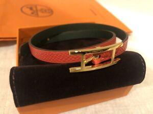 New Hermes Behapi  Double Leather Bracelet Velvet Pouch, Box + Gift Bag