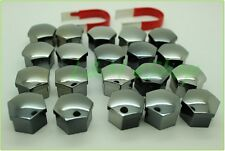 20x Universal Wheel Nut Covers 17mm Hex SMOKED CHROME comes with Removal Tools*