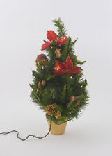 Light Up Pre Decorated Christmas Tree with Poinsetta Flowers NEW  3673