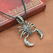 Antique Silver Scorpion Pendant Necklace Stainless Steel Insect Men Punk Jewelry