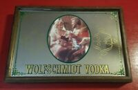 Wolfschmidt Genuine Vodka Wall Hanging Mirror Sign Table Tray Legs Man Cave