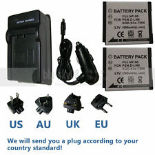 2x NP-50 Battery + Charger For Fujifilm FinePix F70EXR F80EXR F100FD XF1 XP100