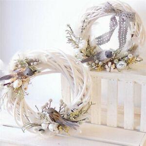8/10/12cm Christmas Rattan Ring White Wreath Garland DIY Wedding Home Decoration