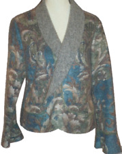 ROZE Designer Wool Blend muted print bell sleeve cardigan jacket fits UK 14 -16