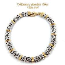 "7 1/4"" 14K Yellow White Gold BYZANTINE Bracelet 6mm Two Tone 5.1g"