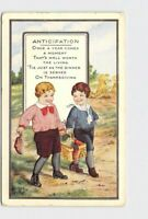 PPC POSTCARD THANKSGIVING ANTICIPATION WHITNEY GOYS CARRY BASKET EMBOSSED