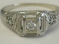 FILIGREE 18 K WHITE SOLID GOLD DIAMOND ( .05CT+) SOLITAIRE RING SIZE 6.75