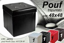 POUF CONTENITORE QUADRATO IMBOTTITO TRAPUNTATO COLORATO 48X48CM CPV-603532