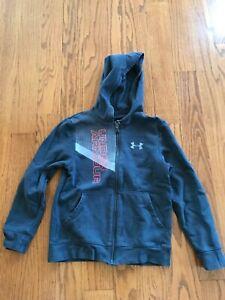 Under Armour Boys Gray Loose Fit Full Zip Hooded Sweatshirt Size YSM (8) VGUC