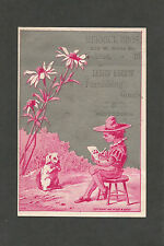 """Victorian Trade Card """"Merrick Brothers Goods Notions""""  Dog Artist - Late 1800s"""