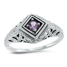 Genuine Amethyst Antique Deco Design .925 Sterling Silver Ring Size 5.75, #100