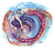 Watercolor Fantasy Art Mermaid meditation Painting Ocean Beach  Bath Decor Print
