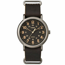 New Timex Men's Weekender Oversized Slip-Thru Leather Strap Watch TW2P85800