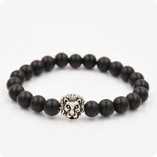 Fashion Black Lava Rock Silver Gold Lion Head Beads Charm Elastic Bracelet Men