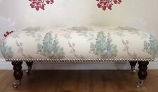 A Quality Long Footstool In Laura Ashley Wisteria Pistachio Duck Egg Fabric