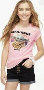 NWT Justice Star Wars BABY YODA Graphic Tee Pink S/S T-Shirt Girls sz 20 PLUS