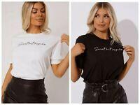 White Black Short Sleeve Sweet But Psycho Slogan Printed Tee T Shirt Tops RRP15