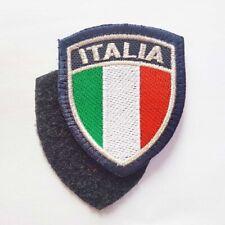 Stemma ricamato Patch scudetto Italia bordo argento - Con Velcro