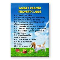 Basset Hound Property Laws Steel Cased Fridge Magnet No 1 Funny