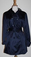 NWT Women's George Aviator Navy Blue Trench Coat Jacket Belt Size L Large 12 14