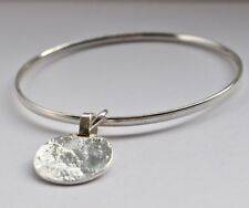 HAND MADE STERLING SOLID SILVER HEART, STAR or MOON BANGLE 5mm D SHAPE LONDON