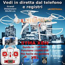 Drone SYMA X8W  HEADLESS CAMERA WIFI VIDEO REALTIME IN DIRETTA 1BATTERIA GRATIS+