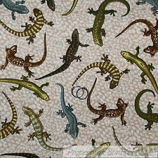 BonEful FABRIC Cotton Quilt Brown Green Blue Gecko Lizard Beach Boy Stripe SCRAP