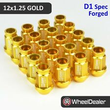 20 x Gold D1 Spec Racing JDM Wheels Rim Lug Nuts 12x1.25 Subaru Nissan 51mm