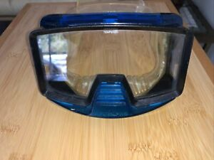 VINTAGE SCUBAPRO Blue and Black Goggles With Shark Tempered Glass Lens
