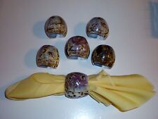 """Set of (6) Hand-Carved/Painted Tiger Cowrie Shell Napkin Rings """"Beach Design"""""""