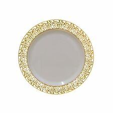 40 Pack Lot  Bulk Plastic Disposable Plates Wedding Dinner Gold Rim Party Dishes