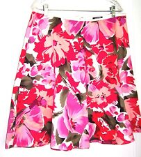 My Michelle Pink & Red Floral pleated A-Line Skirt Size 13