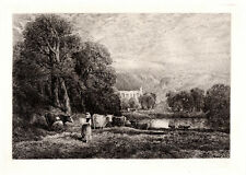 """Outstanding 1800s DAVID COX Antique Etching """"Bolton Abbey"""" SIGNED Framed COA"""