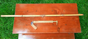 Two Vintage Wood Brass Measuring Carpenters Rulers and Vernier