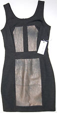 NEW Fifteen-Twenty Contrast Leather Dress XS Dark Heather Gray Lambskin NWT $190
