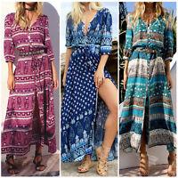 Women Boho Long Maxi Dress Summer Floral Print Loose High Split Party Dress Plus