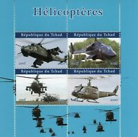 Chad Military Aviation Stamps 2020 MNH Helicopters Helicopter Aircraft 4v M/S