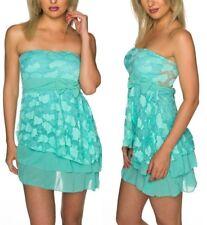 SeXy Miss Damen Bandeau Volant Trend Girl Mini Kleid Spitze Dress 34/36/38 türki