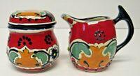 Traditional Mexican Folk Art Red Talavera Pottery Cream & Sugar Set