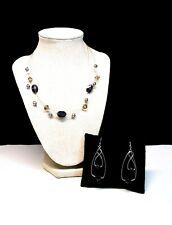 Lia Sophia Black Onyx Illusion Collar Necklace W Earrings