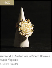 Alcozer & J.- Anello Con Fiore in Bronzo Dorato e Avorio Vegetale (-30% saldo!!)