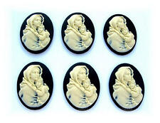 6 IVORY color Mother & Baby (Virgin Mary & Jesus) on BLACK 40mm x 30mm CAMEOS