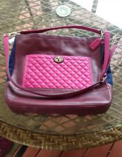 COACH Quilted Burgundy Navy Pink Leather Colorblock Hobo Tote Shoulder Bag NWT