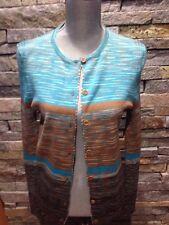 EUC M Missoni Wool Cardigan - Turquoise Blue - Brown - Tan Stripes - 46