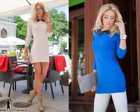 Damen Longshirt Kragen Tunika Pullover Bluse Shirt TOP 36- 42 44 46 S M L XL XXL