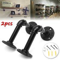 2Pcs Retro Black Iron Industrial Pipe Shelf Bracket Holder With Screws 4.7'' US
