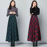 Lady Faux Wool Check Skirts Half Long A-line Plaid Big Swing Elegant Winter Chic