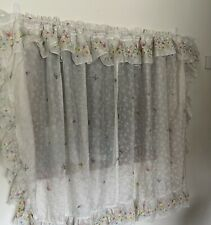 Retro Vtg 6Pc Ruffled Curtain Set Butterfly Bee Insect Print Sheer 49W x 46L
