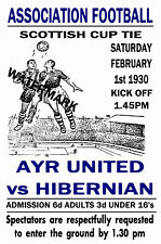 AYR UNITED  - VINTAGE 1930's STYLE MATCH POSTER